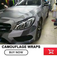 camouflage auto wrap film großhandel-Schwarz Grau Camouflage Vinyl Car Wrap Film Camo Auto Aufkleber Motorrad Bike Wraps Luftblasenfrei 1,52x30 m / Rolle