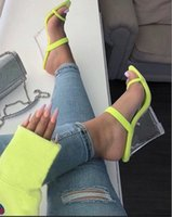 ingrosso scarpe verdi per le donne tacchi alti-Pantofole donna, pantofole delle donne dell'alto tallone, pattini dei cunei cristallo delle donne, Tacchi alti, Fluorescente Verde Mules Shoes