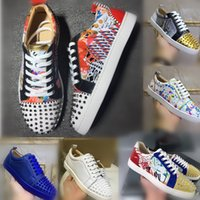 Wholesale casual shoes design for sale - Group buy Top Design Low Cut Suede Spike Toe Casual Flats Red Bottom Shoes For Men and Women Party Desi