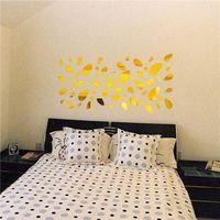 tv arka planı ev toptan satış-3D Ayna Oturma Odası Yatak Odası TV Için Çıkarılabilir Duvar Sticker arka plan Ayna Duvar Duvar Çıkartması Modern Sanat DIY Ev Dekor