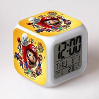 игровые будильники оптовых-Super Mario Alarm Clock Kids Toys Digital Clock Electronic Reloj Despertador Cartoon Led Party Birthday Gift Table Reveil