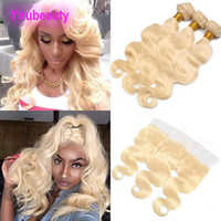 Wholesale natural blonde hair color for sale - Group buy Peruvian Virgin Hair Blonde Body Wave Bundles With Lace Frontal Bundles With x4 Lace Frontal Ear To Ear Color inch