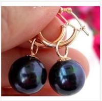 ingrosso orecchini di perle neri 14k-HOT PERFECT ROND 10-11MM TAHITIAN BLACK PEARL EARRING 14K GOLD HOOP