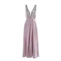 yüksek boyunlu gelinlik toptan satış-Örgün Kadın elbise Moda Pullu Mesh Uzun Düğün Akşam Parti elbise 2019 Yaz tarzı seksi derin V Yaka yüksek bel