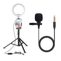 videos en vivo al por mayor-UBeesize 10.2 Pulgadas Ring Light + Lavalier Lapel Microphone C, la mejor combinación de Video Maker para Vloggers de transmisión en vivo