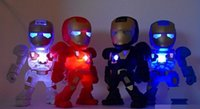 hombre de hierro fresco al por mayor-Niños Cool Gift Iron Man Mini altavoz portátil Luz LED Robot C89 Bluetooth Altavoces inalámbricos Estéreo Caja de sonido de alta fidelidad TF USB Reproductor de MP3