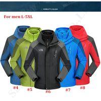 abrigos capuchas para mujer al por mayor-La chaqueta del Norte Hombres Mujeres Marca Diseño capucha desmontable Coats 2 en la cara Traje 1 deportes de esquí impermeable rompevientos esquilado chaquetas 5XL C121103
