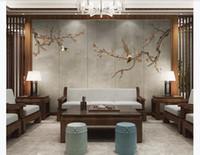 ingrosso sala tv arte pittura-Personalizzato 3d seta murales carta da parati cinese plum blossom gazza arte soggiorno TV sfondo muro dipinto