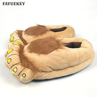 dedo do pé grande dos desenhos animados venda por atacado-FAYUKEY Furry Adventure Winter Women Men Vintage Home Cartoon Hobbit Toes Big Feet Slippers Halloween Pantufa Warm Floor Shoes MX200425