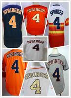 jugend baseball uniformen großhandel-Der meistverkaufte Herren Jugend Astros George Springer Houston 4 Baseball genäht Trikots Sechs Farben Name und Nummer Stickerei Uniformen