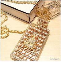 bling чехлы для 5c оптовых-Оптовая Для iPhone Xs Max Case Xr X 8 Plus 7 6 6 s 5 5s 5c SE Женщины Парфюмерная крышка Cute Girl Цепной ремешок Crossbody Bling Diamond