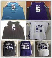 ingrosso volpi nere-Stitched Men De'Aaron DeAaron 5 Fox Jerseys Basket New Blu Nero Viola Bianco Marvin 35 Bagley III Jersey College Camicie