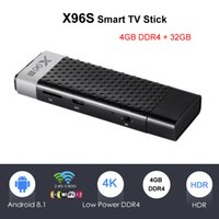 android hdmi stick quad kern großhandel-X96S Android TV Box 4 GB DDR4 32 GB Amlogic S905Y2 Viererkabelkern Mini PC Android 8.1 TV-Stick Dual Band Wifi 2.4G / 5G Streaming Media Player