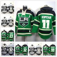 пустая хоккейная футболка оптовых-Мужские толстовки Los Angeles Kings 11 Anze Kopitar Джерси 23 Коричневый 32 Quick 99 Gretzky Хоккей с капюшоном Толстовки пустой зеленый
