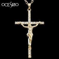 Wholesale big gold pendants for men resale online - Hip Hop Jewelry Big Gold Chain for Men Silver Long Jesus Cross Necklace Hippie Style Mens Pendant Necklace Jewlery Nke h91