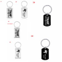 Wholesale label keychains resale online - 6styles Keep America great keychain stainless steel Trump label keychain party favor gift decor letter keyring FFA4075