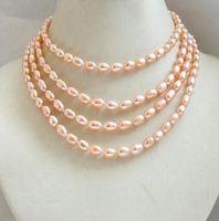natürliche perle 48 zoll großhandel-48 zoll echte kultivierte natürliche reis süßwasser perlenkette wrap pullover kette 5-8mm bitte wahlfarbe