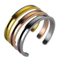 браслеты для волос оптовых-Волосы галстук браслет C форма открытые браслеты с волосами галстук из нержавеющей стали щеткой края для девочек браслеты ювелирные изделия GGA2554