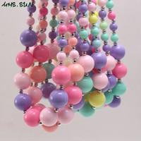 kız şekeri renk kolye toptan satış-Yeni Arrivel Gökkuşağı Renkli Şeker Akrilik Kid Chunky Boncuk Kolye Moda Bubblegume Boncuk Chunky Kolye Takı Bebek Çocuk Kız