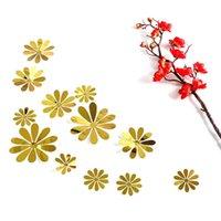 diy çiçek aynası toptan satış-12 adet / takım Akrilik Ayna Yüzey Güneş Çiçekler Duvar Sticker Ev Dekor Düğün Festivali Dekorasyon Duvar Çıkartmaları DIY Sanat Mural