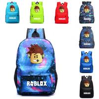 mochilas de niños cool para la escuela al por mayor-Mochila de moda Roblox Mochila de viaje al aire libre Bolso de viaje Bolso de viaje Cool Boy Bookbag Laptop Impresión para niños Niños Estudiantes Adolescentes Fans M22Y
