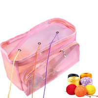 Wholesale weaving accessories tools resale online - Solid Color Holes Rectangle Shape DIY Hand Weaving Tools Organizer Weaving Yarn Bag Crochet Thread Storage Mesh Bag