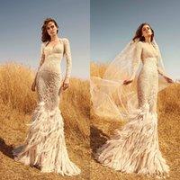vestido con mangas de plumas al por mayor-2020 Zuhair Murad sirena vestidos de boda del cordón del amor Appliqued perlas de lujo pluma de manga larga vestidos de novia vestido de novia por encargo