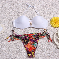 plaj kıyıları toptan satış-Bikini 2019 mujer kadın Bikini Yastıklı Push-Up Sütyen Bandaj Mayo Plaj Mayo Yüzme örtbas biquini Yıkanlar