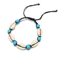 coquillages verts achat en gros de-Vintage bohème shell perle bracelet boho mer blanche coquille ronde vert turquoise perle bracelet été vacances plage bijoux en gros