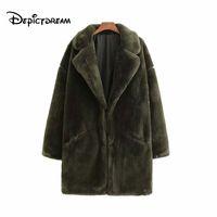 büyük boy kürk mantolar toptan satış-2019 kadın faux fur gevşek uzun ceket kış sıcak kalın cepler uzun kollu palto katı casual boy giyim tops