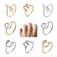 jóia do anel z venda por atacado-26 A-Z Inglês Carta Anéis Moda Mulher Mão-ferida Alfabeto Simples Anel Ajustável Anel Criativo Senhora Jóias TTA949