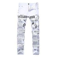 jeans de couleur masculine achat en gros de-Vente chaude Hommes Jeans Droit Slim Fit Maigre Blanc Couleur Jeans Pantalon Lettre Imprimé De Mode Pantalon En Denim Nouveau Dropshipping