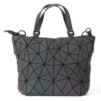 Wholesale geometric fold tote bag resale online - Women Handbag Female Luxury Luminous Geometric Bag Hologram Laser Plain Folding Shoulder Bag Fashion Bucket Messenger