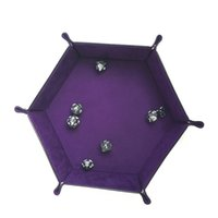 Wholesale dice storage for sale - Group buy Foldable Hexagon Games Dices PU Leather Tray For Home Office Supplies Decorative Storage Box Folding Practical yz E1