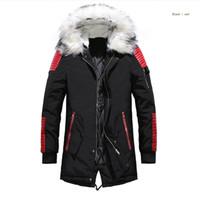 siyah kürk kapüşonlu ceket erkek toptan satış-Aşağı ceket Erkekler Kış Ceketler Mont Siyah Aşağı Sıcak Ceket açık Kapşonlu Kürk Erkek Kalın Parkas Artı Boyutu Ünlü Marka M-3XL