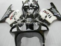 комплект zx7r оптовых-высокое качество пластиковый обтекатель комплект для Kawasaki Ninja ZX7R 1996-2003 черный белый обтекатели комплекты ZX7R 96-03 TY66