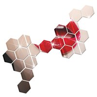 3d schlafzimmer design großhandel-12 stücke heißer verkauf modernes design klebstoff hexagonal 3d diy acryl wandspiegel aufkleber für zimmer schlafzimmer küche badezimmer aufkleber home party