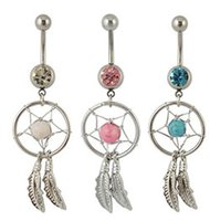 Wholesale dream stone for sale - Group buy D0008 colors Dream Catcher Dangle mix colors stones Belly Rings Navel naval drop shipping