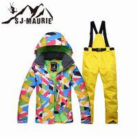 calças à prova de vento para mulheres venda por atacado-SJ-Maurie Neve Suit Ski Jacket Pants Mulheres Winter Waterproof Suit Windproof Snowboard Set Brasão Outdoor Caminhadas Grosso