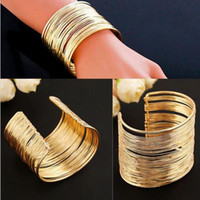 Wholesale gold wire wrapped bracelet resale online - Punk Gold Silver Plated Glittering Wrap Bracelet Multilayer Strings Bracelet Zinc Alloy Wire Opening Cuff Bangle For Women
