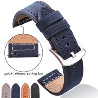 ingrosso braccialetti di cuoio della pelle bovina-Cinturino dell'orologio cinturino in vera pelle cinturino dell'orologio cinturino in pelle nera blu grigio scuro per donna uomo 18 20mm 22mm cinturino da 24 mm