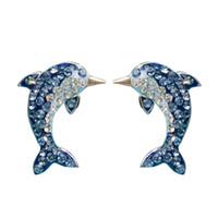 boucle d'oreille dauphin en argent sterling achat en gros de-S925 argent sterling incrusté cristal dauphin boucles d'oreilles tempérament mode dames boucles d'oreilles animaux bijoux cadeau 6-ES3064