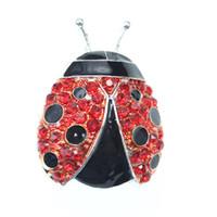 dame rote brosche groihandel-Modeschmuck Sparkly Kristall Tier Insekt Red Lady Bug Brosche Strass Brosche Für Frauen