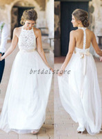 Wholesale halter top beach wedding dresses for sale - Group buy Fancy Summer Bohemian Wedding Dresses Halter Top Lace Chiffon Bridal Gowns Sexy backless Lace Bare Back Beach Garden Wedding Gowns Hippie