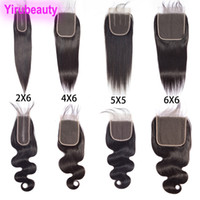 Wholesale body wave middle part for sale - Group buy Brazilian Human Hair Straight Virgin Hair X6 Lace Closure With Baby Hair X6 Closure X5 Six By Six Lace Closure Straight Body Wave