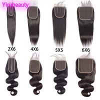 vücut dalgalı dantel kapakları toptan satış-Brezilyalı İnsan Saç Düz Bakire Saç 2X6 Dantel Kapatma Bebek Saç Ile 4X6 Kapatma 5X5 Altı Altı Dantel Kapatma Tarafından Düz Vücut Dalga 8-20