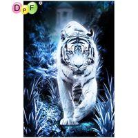 Wholesale paintings white tigers resale online - diamond embroidery black white tiger pattern diamond painting round rhinestone picture diamond mosaic art cross stitch