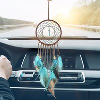 Wholesale turquoise decor resale online - Turquoise Handmade Dream Catcher Feathers Decoration for Car Car Ornaments and Home Decor Car Interior Accessories