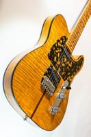 клен электрогитара корпус оптовых-Гитара Prince HS Anderson Madcat Mad Cat Янтарно-желтое пламя кленовая электрогитара Леопардовая накладка Классическая черная обвязка