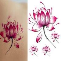 frauen blühen flash tattoo großhandel-Bunte Lotus Flower Tattoos Muster Taty New Design Flash Abnehmbare wasserdichte temporäre Tätowierung Aufkleber